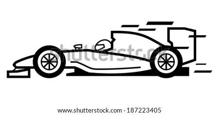 vector black race car on white background - stock vector
