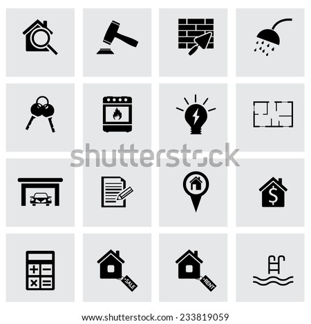 Vector black real estate icons set on grey background - stock vector