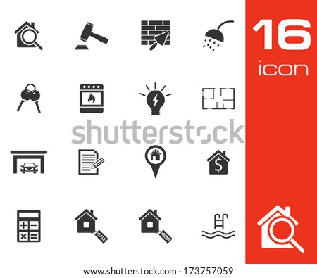 Vector black real estate icons set on white background - stock vector