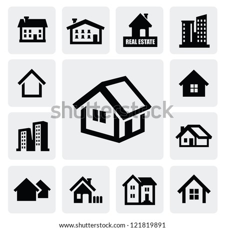 vector black real estate set on gray - stock vector