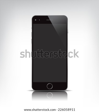vector black realistic phone, with empty screen isolated - stock vector