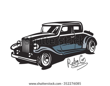 Classic Car Illustration Isolated On White Stock Vector