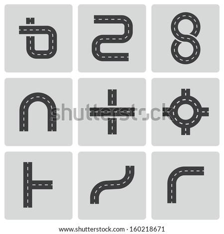 Vector black road elements icons set - stock vector