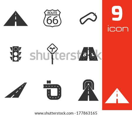Vector black road icons set white background - stock vector