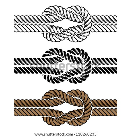 vector black rope knot symbols - stock vector