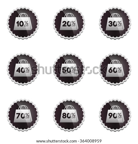 Vector: Black Sale 10 - 90 Percent OFF Discount Label Tag Isolated on White Background - stock vector