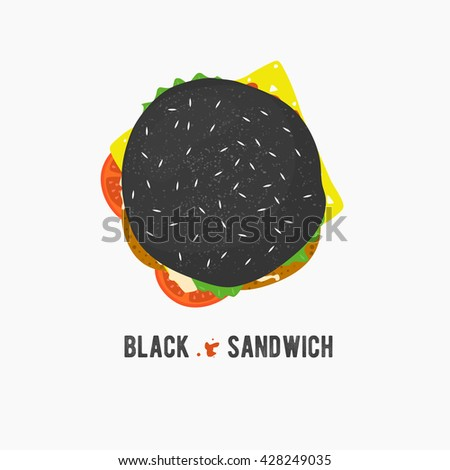 Vector black sandwich icon. Fresh hamburger with lettuce, cheese and tomatoes. Burger logo illustration. Street food. Toast in flat style.Top cheeseburger. - stock vector