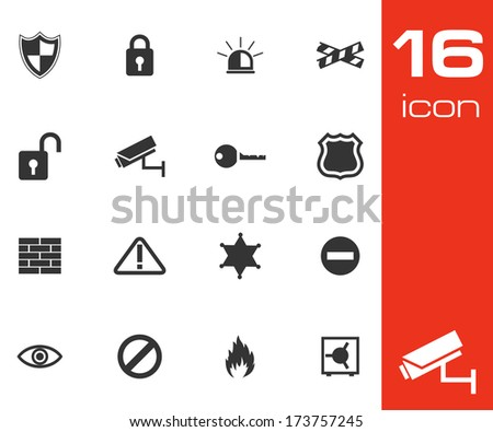 Vector black security icons set on white background - stock vector