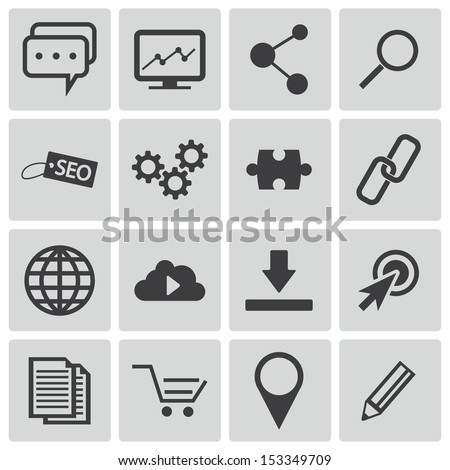 Vector black  seo icons set - stock vector