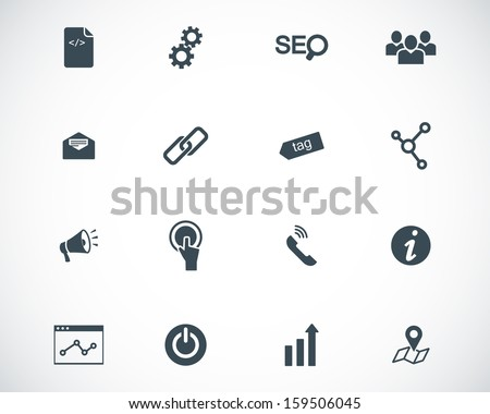 Vector black seo icons set - stock vector