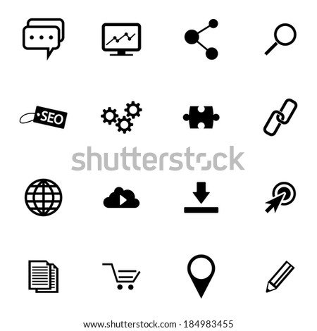 Vector Black  Seo Icons Set on white background - stock vector