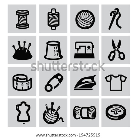 vector black sewing equipment icon set on gray - stock vector