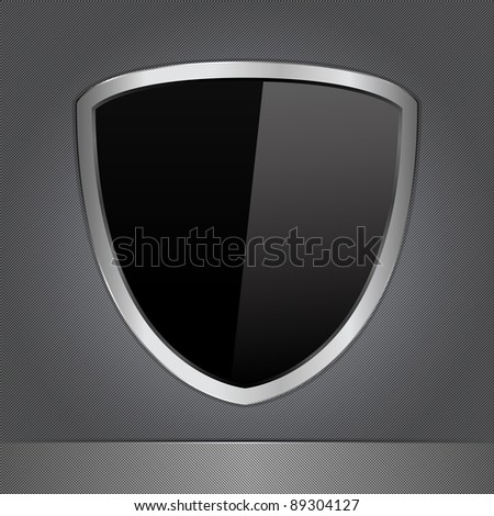 Vector Black Shield on a Metal Background - stock vector