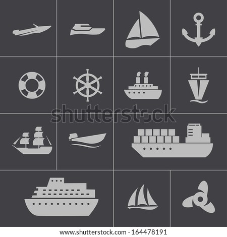 Vector black ship and boat  icons set - stock vector