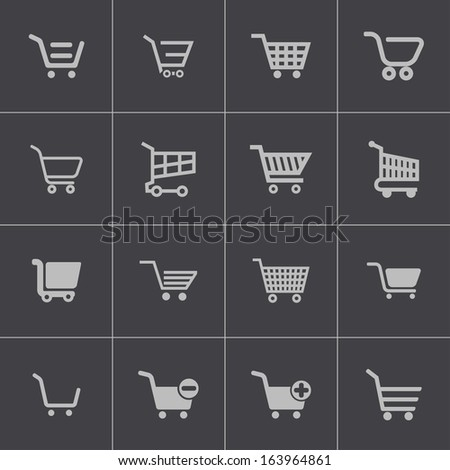 Vector black  shopping cart  icons set - stock vector
