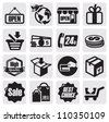 vector black shopping icons on gray background - stock photo
