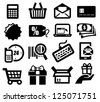 vector black shopping icons set on gray - stock vector
