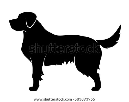 vector black silhouette of a dog isolated on a white background