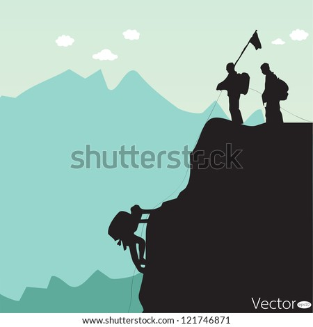 Vector black silhouette of a rock climber - stock vector