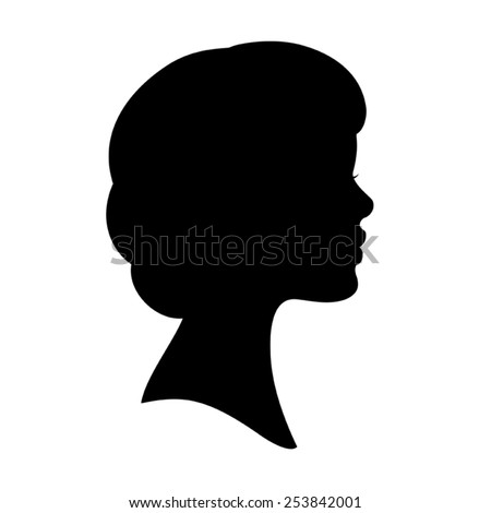 Vector black silhouette of woman face profile. Wavy bob haircut. Isolated on white. - stock vector