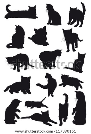 Vector black silhouettes drawing cats - stock vector