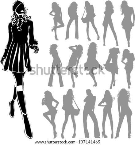 Vector black silhouettes of beautiful women isolated on white background
