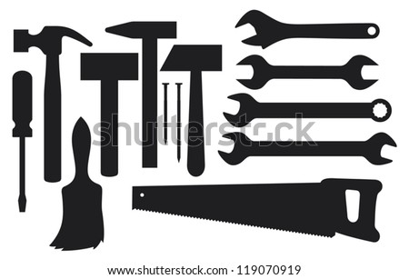 vector black silhouettes of hand tools (collection of home tools silhouettes, tools or home improvement, hammer, nail, wrench, screwdriver, handsaw, hand wrench tool or spanner, paint brush) - stock vector