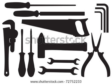 Vector Black Silhouettes of Hand Tools Kit - stock vector