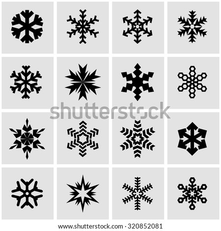 Vector black snowflake icon set. Snowflake Icon Object, Snowflake Icon Picture, Snowflake Icon Image, Snowflake Icon Graphic, Snowflake Icon JPG, Snowflake Icon EPS, Snowflake Icon AI - stock vector - stock vector