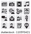 vector black social network icon set on gray - stock vector