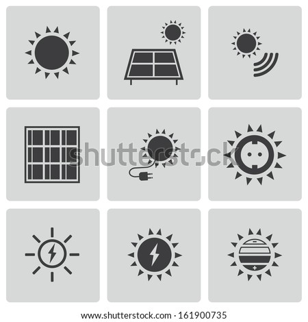 Vector black solar energy icons set - stock vector