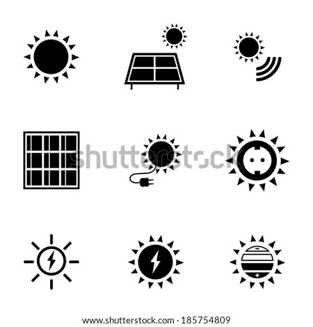 Vector black solar energy icons set on white background