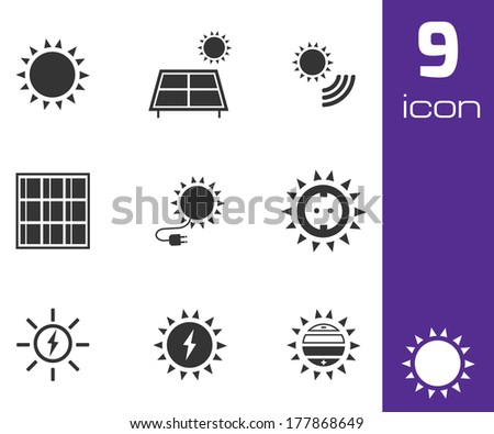 Vector black solar energy icons set white background - stock vector