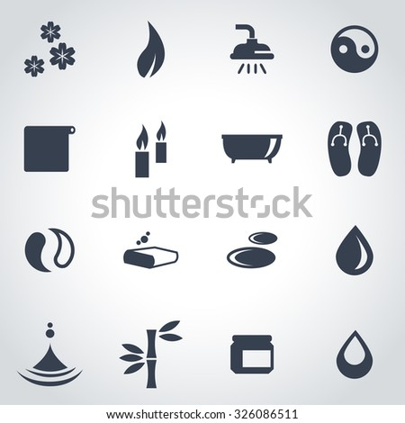Vector black spa icon set. Spa Icon Object, Spa Icon Picture, Spa Icon Image, Spa Icon Graphic, Spa Icon JPG, Spa Icon EPS, Spa Icon AI - stock vector - stock vector