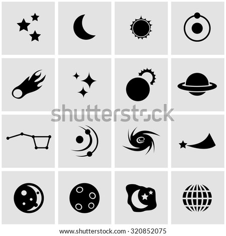 Vector black space icon set