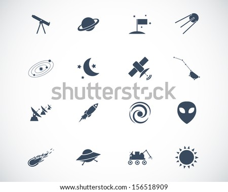 Vector black  space icons set - stock vector
