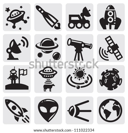 vector black space icons set on gray