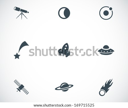 Vector black space icons set on white background - stock vector