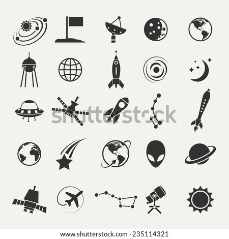Vector black space icons set on white backgroundVector black space icons set on white background - stock vector