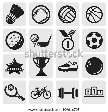 vector black sports balls set on gray - stock vector