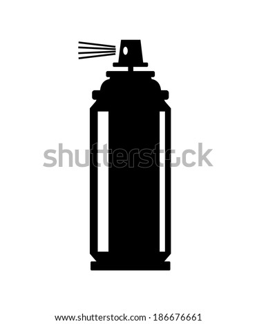 vector black spray can icon on white - stock vector