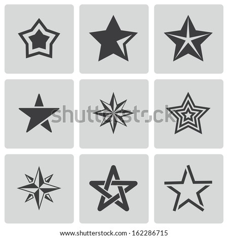 Vector black stars icons set - stock vector