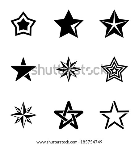 Vector black stars icons set on white background - stock vector