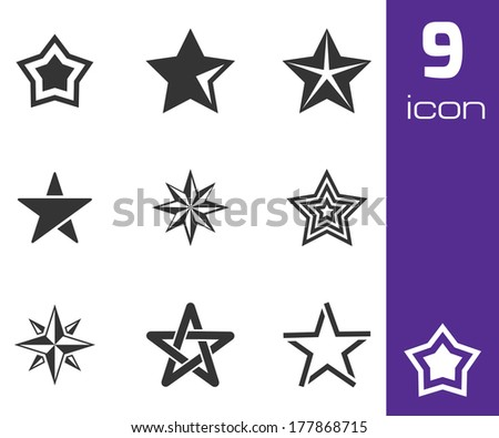 Vector black stars icons set white background - stock vector
