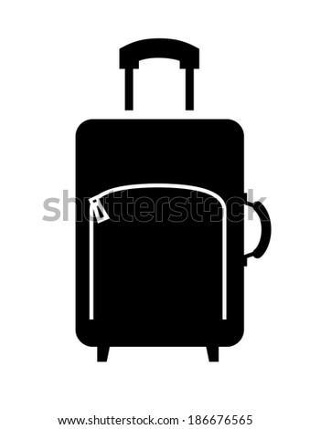 vector black suitcase icon on white backgorund - stock vector