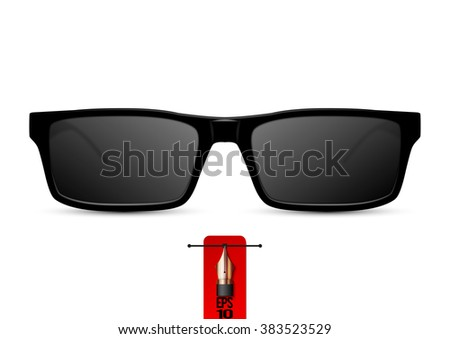 Vector black sunglasses. Isolated on white background - stock vector
