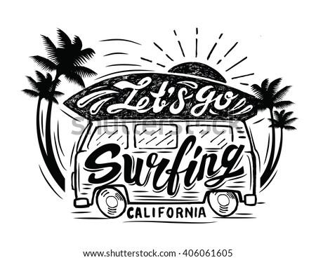 Vector black surfing badge. Beach surfer emblem  - stock vector