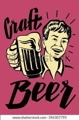vector black symbol of Retro Beer Guy - stock vector