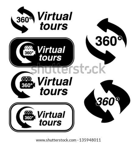 Vector black symbols for virtual tour - stock vector