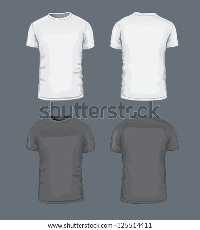vector black T-shirt icon on gray background - stock vector